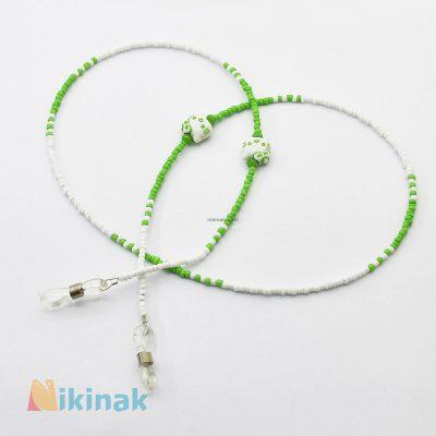 بند عینک دخترانه طرح هلوکیتی رنگ سبز